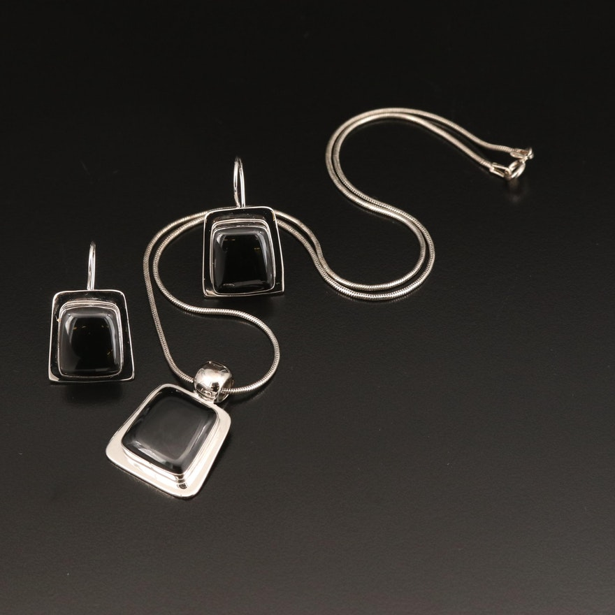 Mexican Sterling Earring and Pendant Set with Italian Snake Chain Necklace