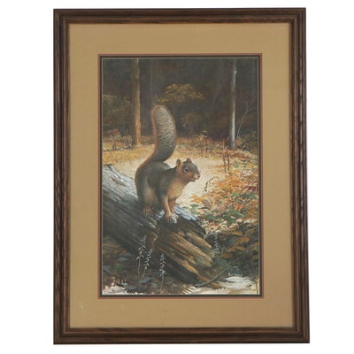 """Ray Harm Offset Lithograph """"Fox Squirrel,"""" Late 20th Century"""