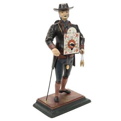 Painted Cast Iron Clock Maker Figural Clock, 20th Century