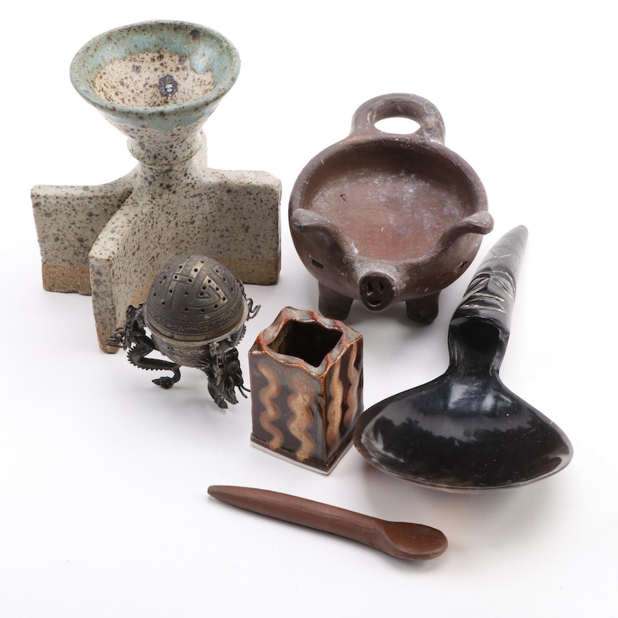 Hand-Built Ceramic Candle Holders with Brass Censor, Clay Salt Pig, and More