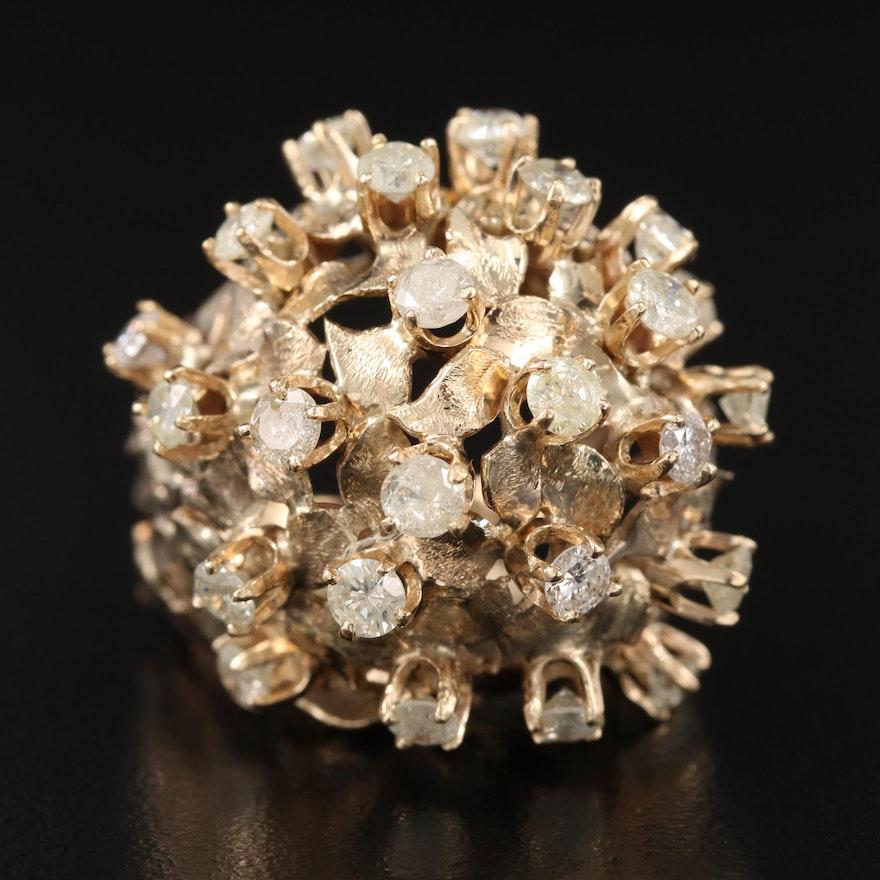 10K 2.02 CTW Diamond Domed Foliate Cluster Ring