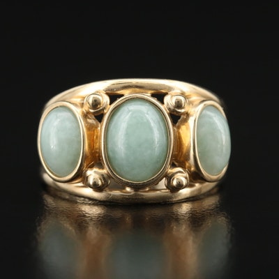 14K Jadeite Split Shank Ring