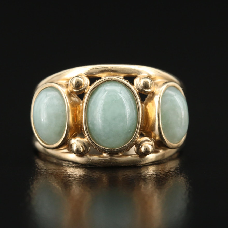 14K Jadeite Split Shank Ring
