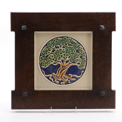 "Rookwood Pottery ""Tree of Life"" Tile in Arts and Crafts Style Oak Frame, 2013"