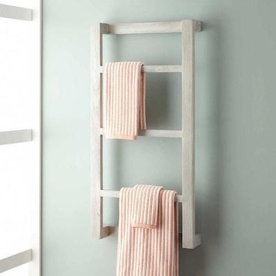 """""""Wulan"""" Teak Hanging Towel Rack in Light Grey Finish"""