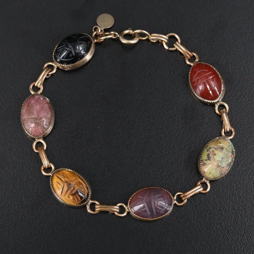Vintage Bojar Gold-Filled Tiger's Eye Quartz and Gemstone Scarab Bracelet