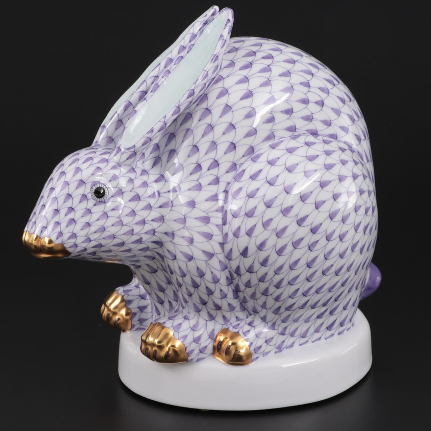 "Herend Lavender Fishnet ""Large Sitting Rabbit"" Porcelain Figurine, Contemporary"