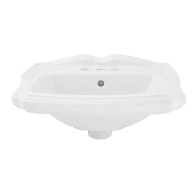 """Halden"" Porcelain Wall Mount Bathroom Sink in White"