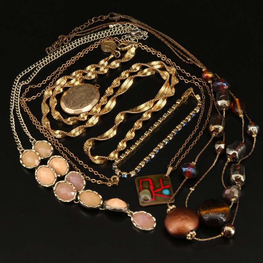 Jewelry Including Vintage Carl Art Locket Pendant with Necklaces and Bracelets