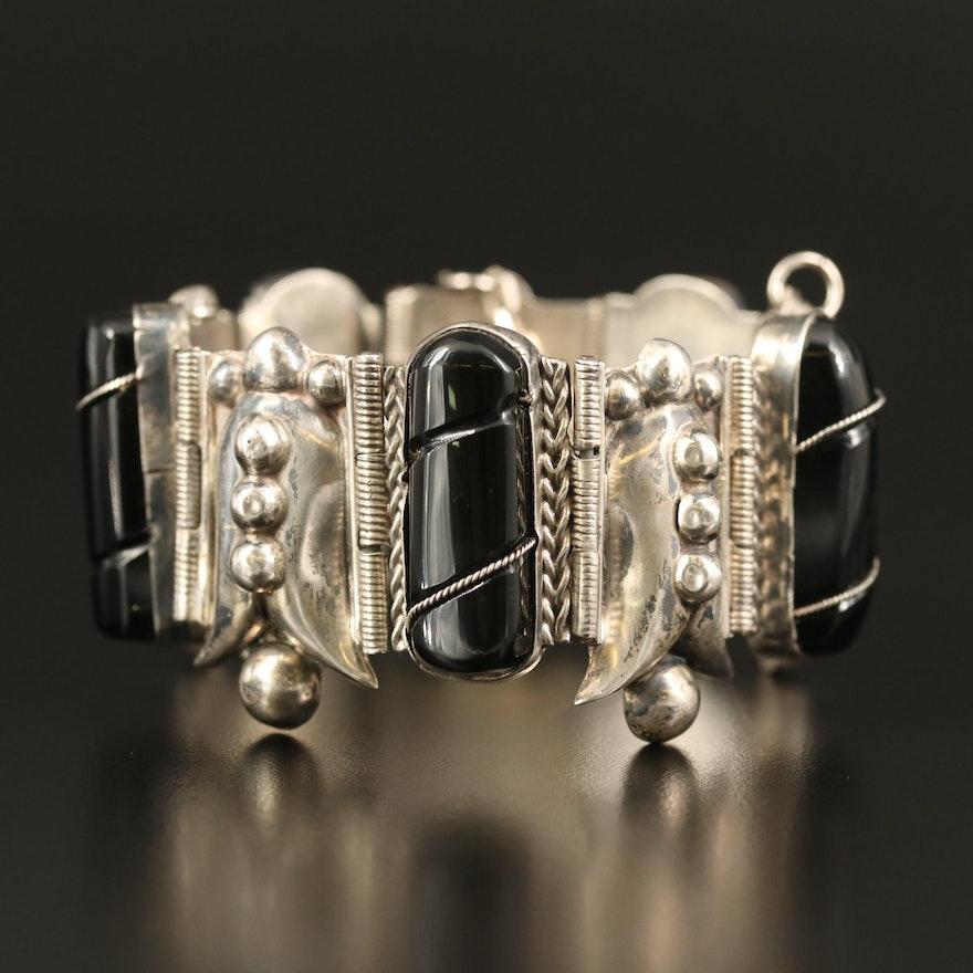 Vintage Sterling Silver Glass Panel Bracelet