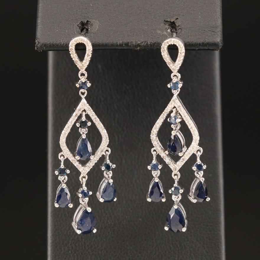 14K Sapphire and Diamond Chandelier Earrings