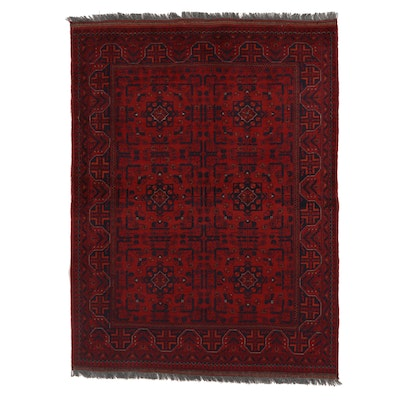 5' x 6'8 Hand-Knotted Afghan Kunduz Wool Area Rug
