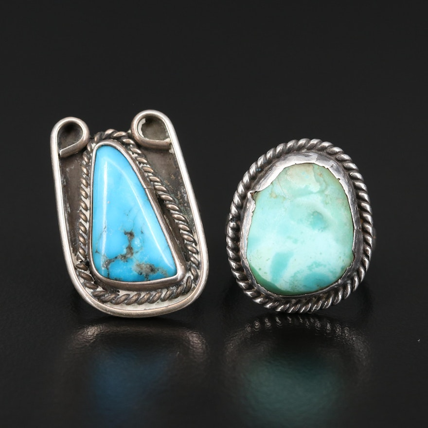 Southwestern Sterling Turquoise Rings with Rope Details