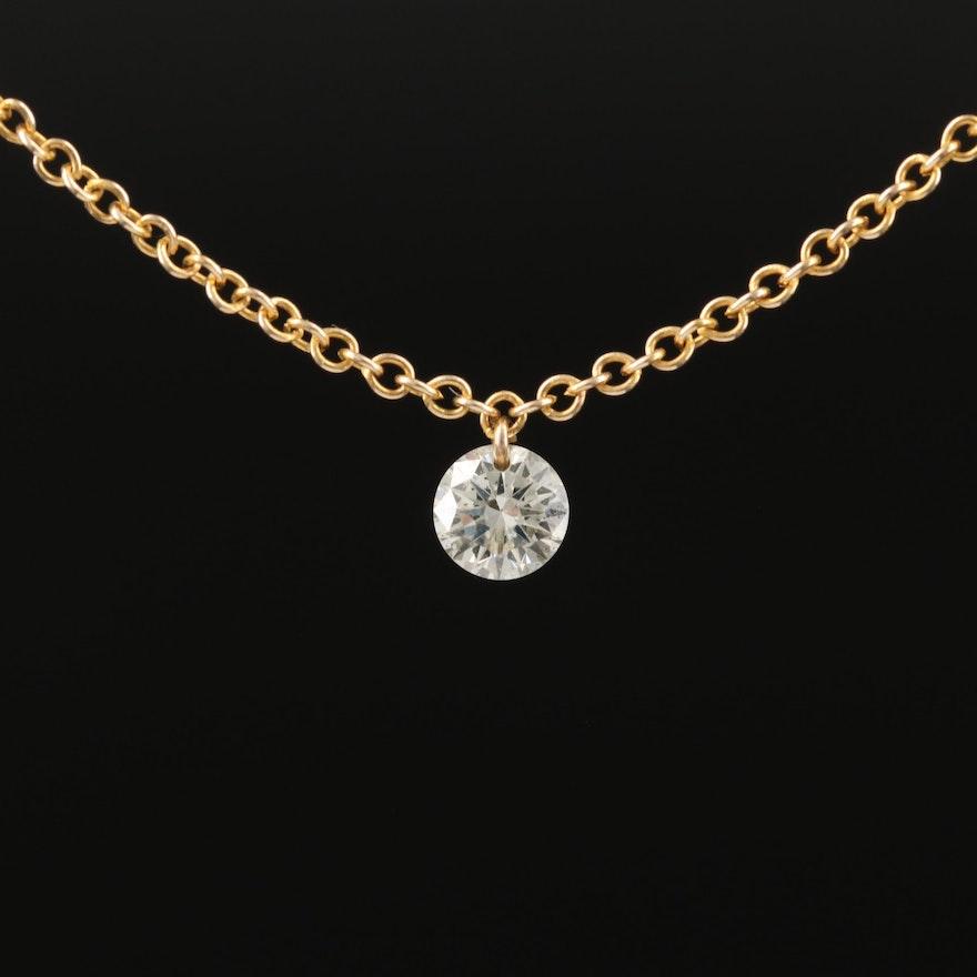 14K 0.15 CT Diamond Solitaire Necklace