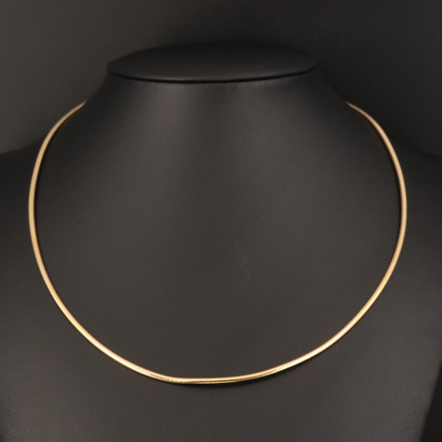 Italian 14K Omega Chain Necklace
