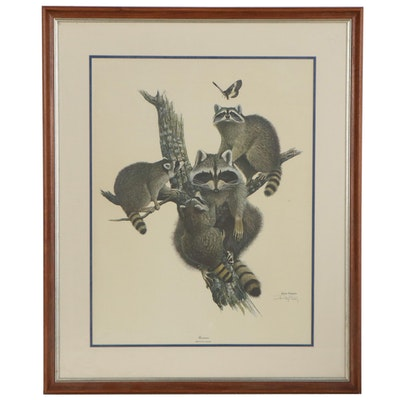 """Ray Harm Offset Lithograph """"Raccoon,"""" Late 20th Century"""