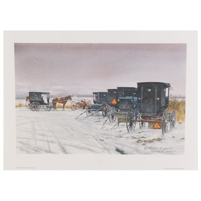 "Florian K. Lawton Offset Lithograph ""Sudden Flurries,"" circa 1991"