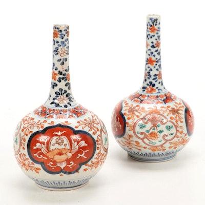 Pair of Japanese Imari Hand Painted Porcelain Bottle Vases