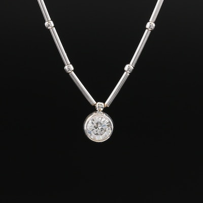 18K Bezel Set 0.44 CT Diamond Solitaire Pendant Necklace