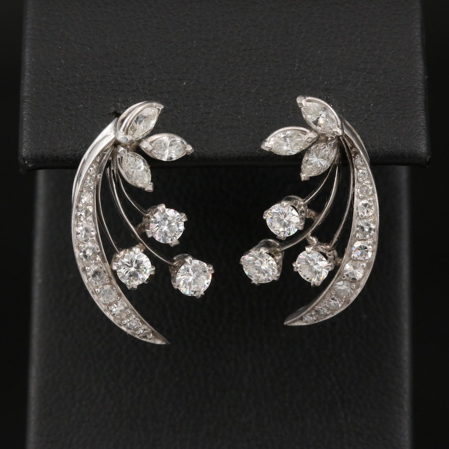 Retro 18K 2.02 CTW Diamond Earrings with 14K Posts and Clutches