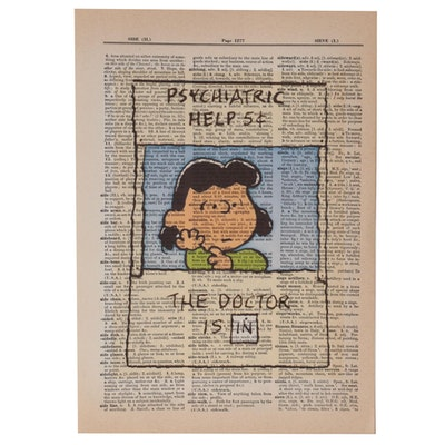 Giclée after Charles M. Schulz of Lucy in Psychiatric Booth