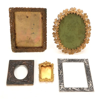 Gilt Brass and Silver Plate Picture Frames, Early 20th Century