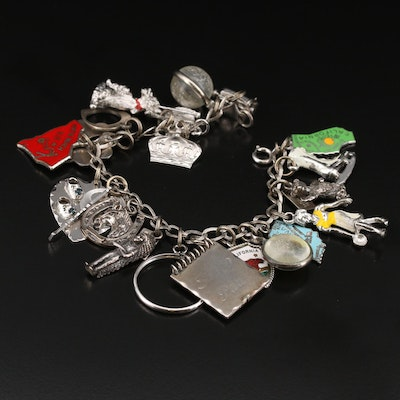 Vintage Carl Art Sterling Charm Bracelet Featuring  Bell Trading and Wells