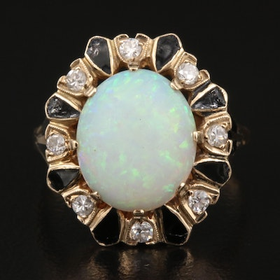 Vintage 14K Opal and Diamond Ring with Enamel Accents