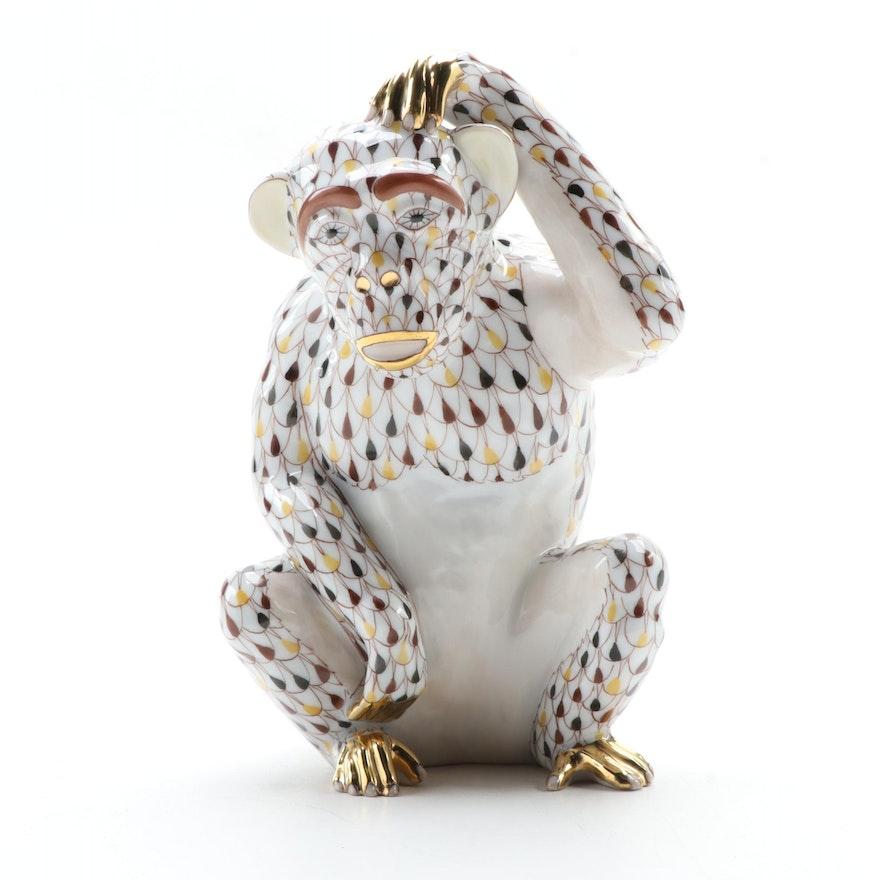 "Herend Brown Fishnet ""Scratching Chimpanzee"" Porcelain Figurine"