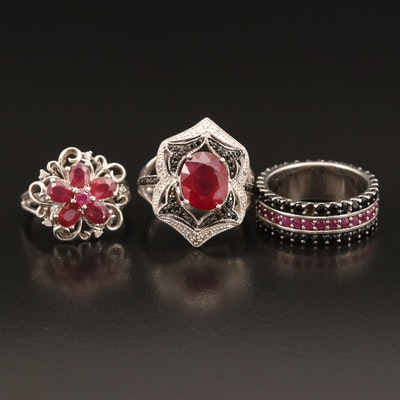 Sterling Rings Including Ruby, Diamond and Black Spinel