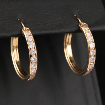 14K Cubic Zirconia Hoop Earrings