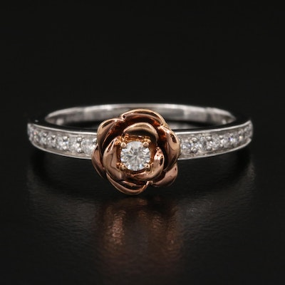 Disney's Belle Inspired 10K Diamond Rose Ring