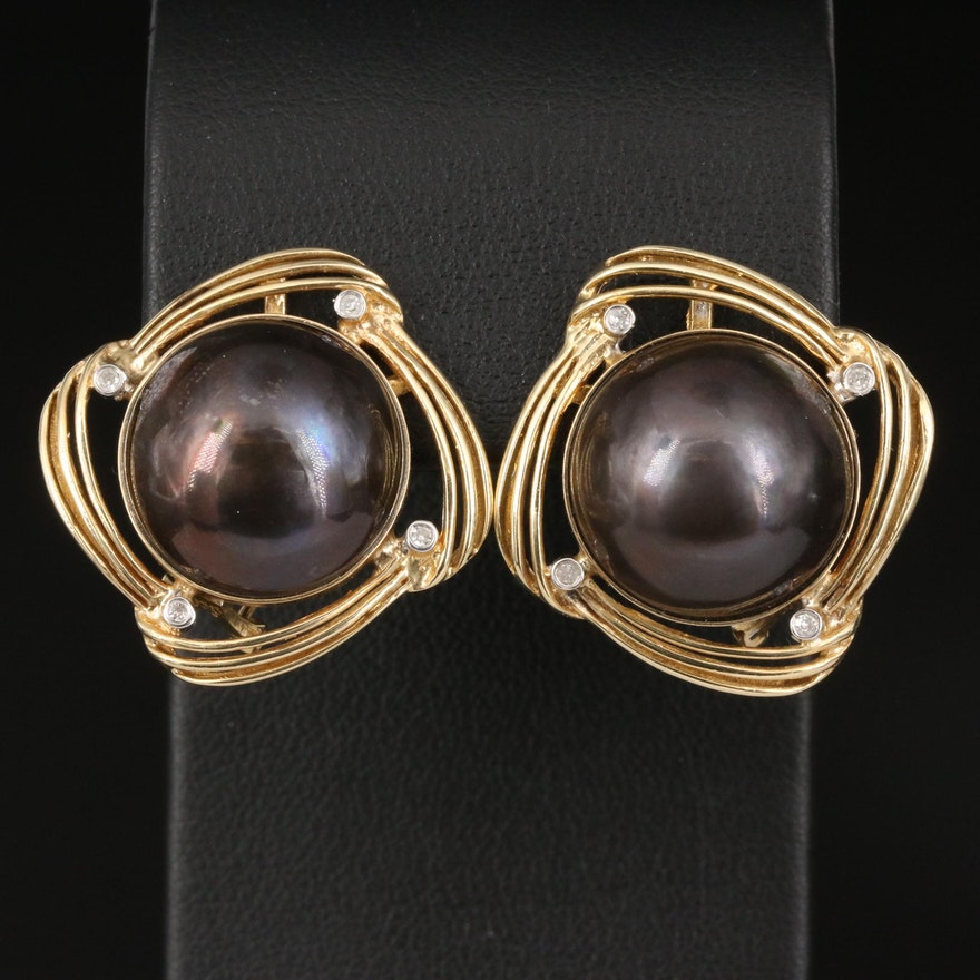 14K Mabé Pearl and Diamond Earrings