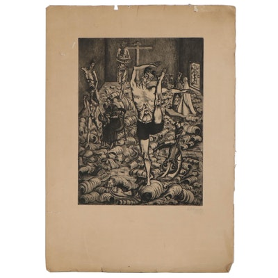 R.G. Ripper Etching of Surreal Figural Scene, Mid to Late 20th Century