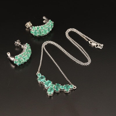 Sterling Emerald Necklace and J-Hoop Earrings