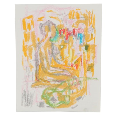 Murat Kaboulov Abstract Pastel Drawing of Seated Figure, circa 2000