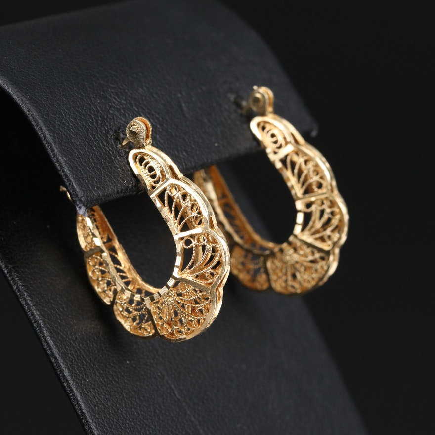 14K Filigree Hoop Earrings with Fluted Edges