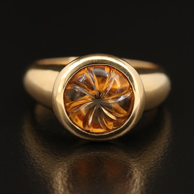 18K Carved Citrine Ring