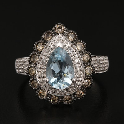 Le Vian 14K Aquamarine and Diamond Teardrop Ring