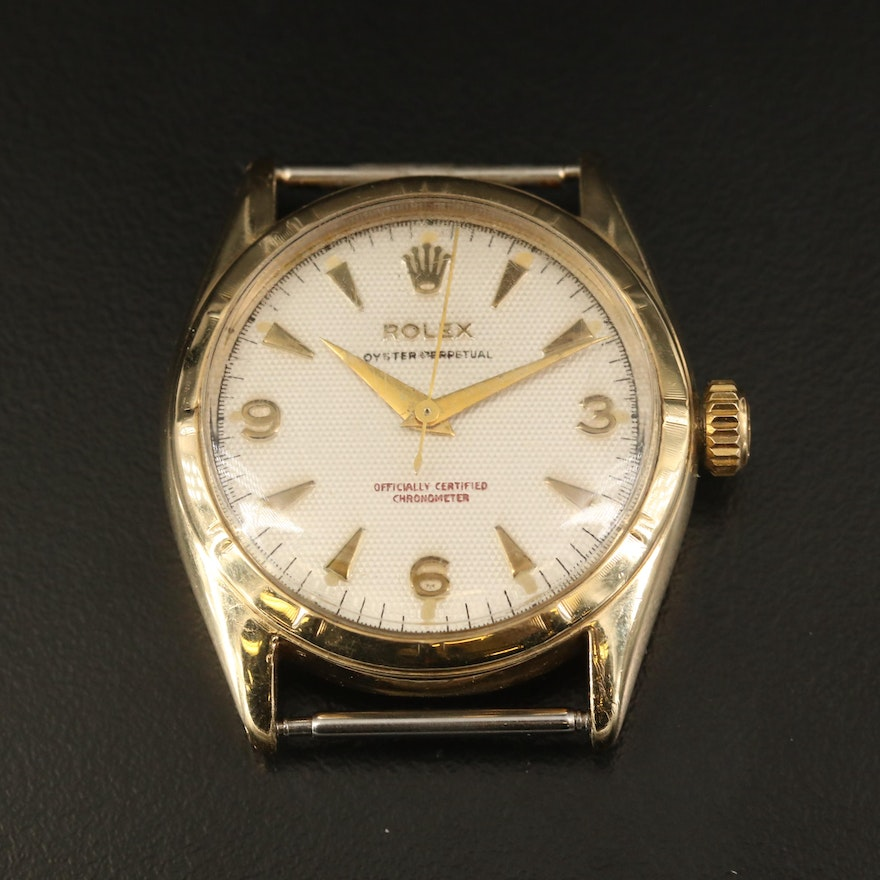 """1952 Rolex Oyster Perpetual """"Waffle Dial"""" 10K Gold Automatic Wristwatch"""