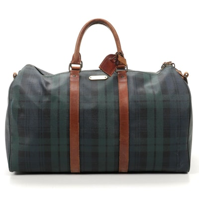 Ralph Lauren Boston Blackwatch Plaid Coated Canvas and Leather Duffel Bag