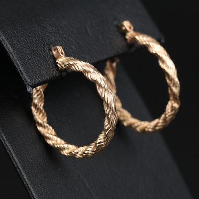 14K Hoop Earrings with Rope Design