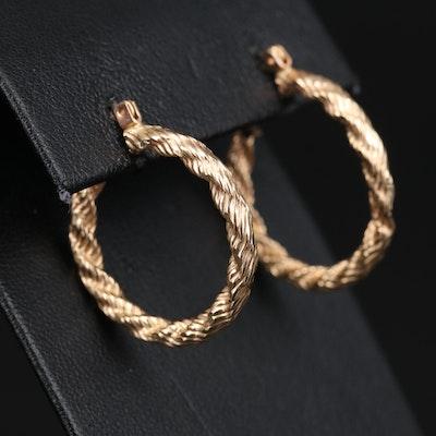 14K Hoop Earrings with Rope Design