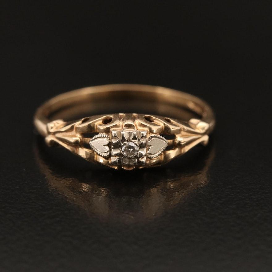 1930s 14K Diamond Solitaire Ring