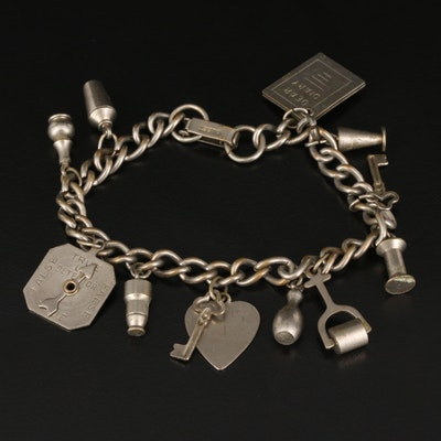 Vintage Charm Bracelet Featuring Articulated True or False Dial