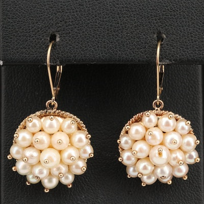 14K Pearl Cluster Earrings