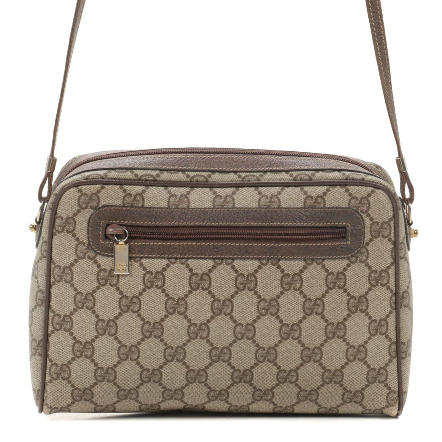 Gucci Crossbody Bag in GG Supreme Coated Canvas and Brown Leather