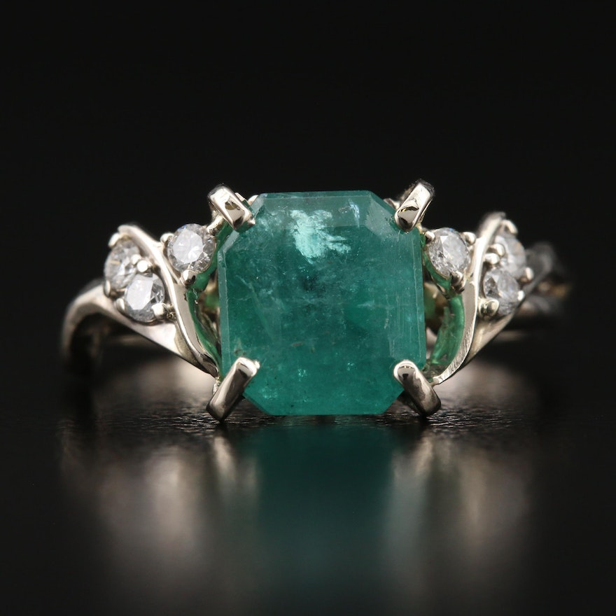 14K 3.06 CT Emerald and Diamond Ring with GIA Report