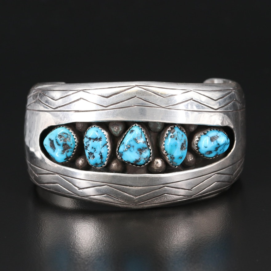 Southwestern Artisan Signed Sterling and Turquoise Shadowbox Cuff