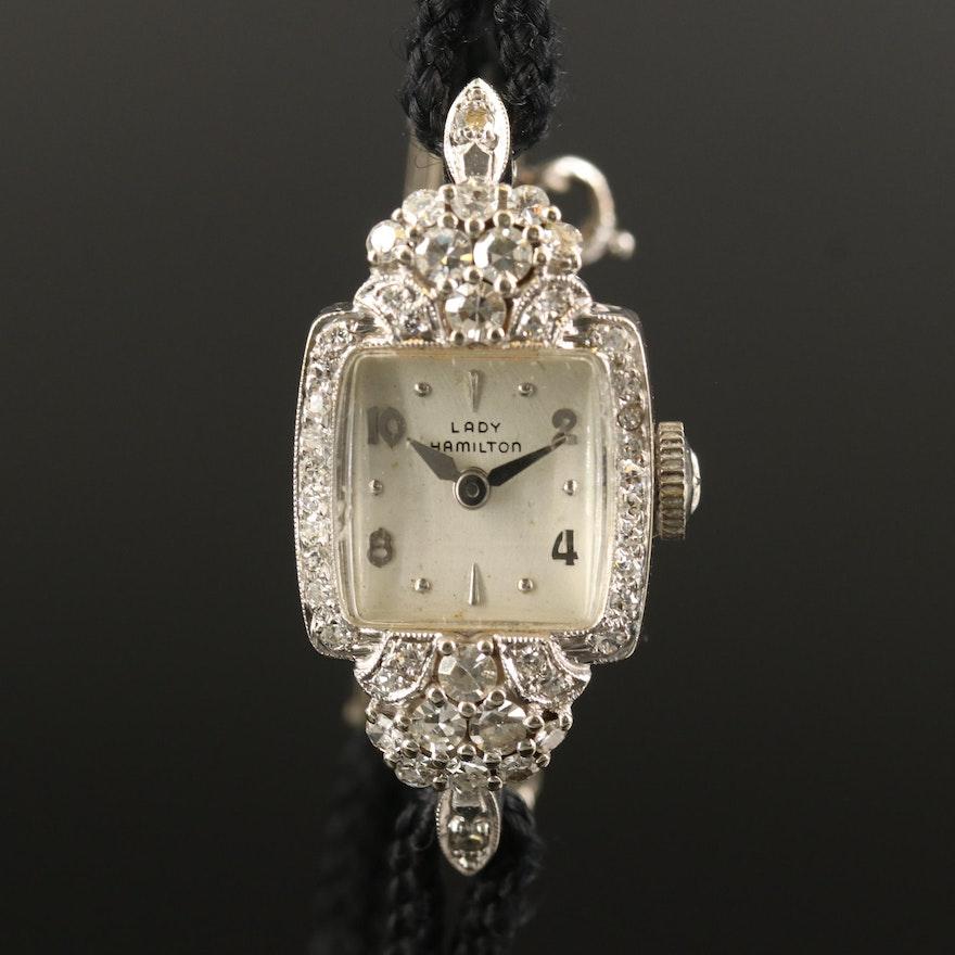 Vintage Lady Hamilton Diamond and 14K White Gold Stem Wind Wristwatch